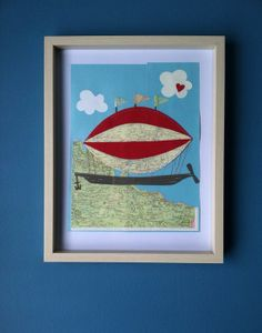 Hey, I found this really awesome Etsy listing at http://www.etsy.com/listing/178502280/french-airship-1-framed-sewn-collage-art
