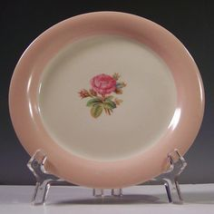 "Homer Laughlin Swing Moss Rose 6 1/4"" Plate Circa 1942"