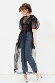 Jeans and Simone Rocha - smoky dress and body. Look Fashion, High Fashion, Fashion Outfits, Womens Fashion, Fashion Trends, Mode Abaya, Casual Outfits, Cute Outfits, Sheer Dress