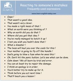 Reacting to someone's mistakes: frequently-used expressions