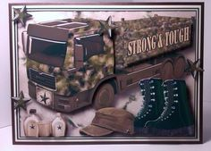 "Strong   Tough   Big Boy s Stuff  on Craftsuprint created by Lynda Tully - I printed the design onto crafty Bob's 200gsm matte photo paper and cut out all the elements.I matted and layered the main image onto cream card and mounted it onto a brown blank card.I added the decoupage using foam pads...another stunning card for the guys and for all those with Forces connections,""Awsome""."