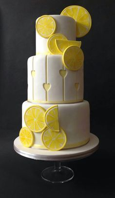 Lemon Cake Decoration Ideas : 3 YELLOW wedding cakes on Pinterest Yellow Wedding Cakes ...
