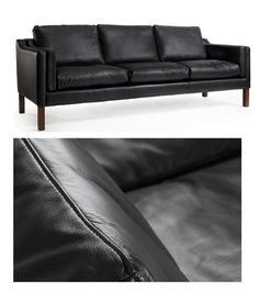 Semi-aniline leather three seat sofa Borge Mogensen 2213 style – Onske