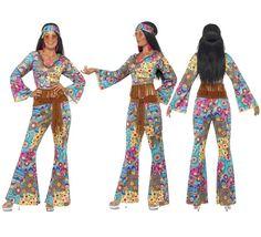 Disfraz Hippy Flower Power para Mujer talla M   Disfrazzes   Tienda de disfraces online