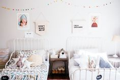 Big Girl Bedrooms, Shared Bedrooms, Little Girl Rooms, Ikea Kids Bed, Ikea Bed, Baby Bedroom, Girls Bedroom, Ikea Minnen Bed, Cama Ikea