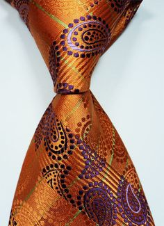 New Classic Orange Purple Green Jacquard Woven Silk Men's Tie Necktie  #DesignerBrand #NeckTie