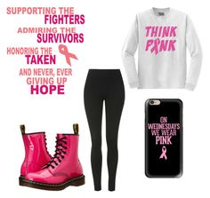 """Think Pink!!!"" by alwaysapotter-head ❤ liked on Polyvore featuring Casetify, Dr. Martens and Topshop"