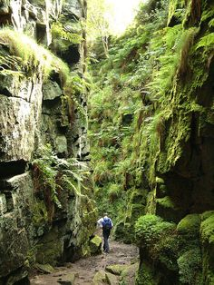Peak District - Hiking in Lud's Church, a deep chasm in Staffordshire, England. Robin Hood, Friar Tuck and Bonny Prince Charlie are all reputed to have hidden from the authorities within the chasm. Places To Visit Uk, The Places Youll Go, Places To Travel, Travel Destinations, Travel Tourism, Destination Voyage, English Countryside, Trekking, The Great Outdoors