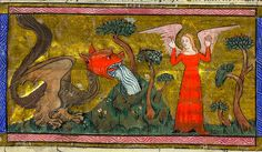 Detail of the woman and the beast spewing water into the earth, from the Yates Thompson Apocalypse, Paris, c. Yates Thompson MS f. Medieval Dragon, Medieval Life, Medieval Art, Old Best Friends, High Middle Ages, St Margaret, Medieval Manuscript, Illuminated Manuscript, Fantasy Monster