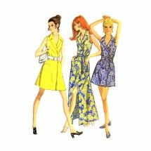 faed8cfb864 1970s Misses Front Wrap Dress McCalls 2382 Vintage Sewing Pattern Size 14 Bust  36 Dress Sewing