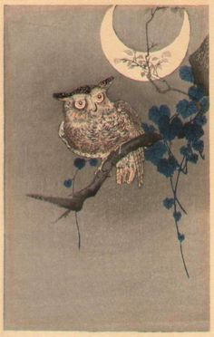 Owl and a Quarter Moon by Ohara Koson (or Shoson)