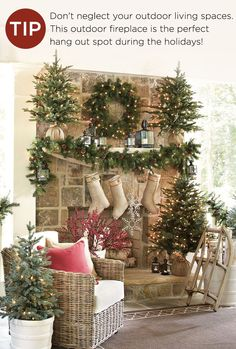 Outdoor rooms are fun to decorate, especially if you have a fireplace or live in an area that's warm during this time of year. Go all out with garland and small trees in addition to your wreath.