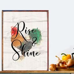 """""""Rise and Shine"""" Printable - spoonyprint Home Decor Quotes, Poster Prints, Printables, Bible Quotes, Mockup, Commercial, Design, Digital, Create"""
