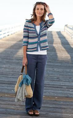 J. Jill - artistic striped cardigan, perfect tank,  linen indigo trousers - stripes add flavor to our must-have spring sweater.