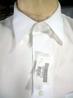 "Mens White Dress Shirt, Long Sleeve, 18""x36"""