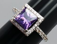 Stunning-Square-Purple-Stone-Costume-Ring-Silvertone-Band-with-Accents-Size-8