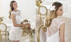 Pronovias - A short, dreamy, detailed dress perfect for a city wedding. Oh, so lovely!