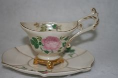Vintage Stafford Rose footed with gold leaf small Teacup/Tea Cup & Saucer