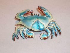Sterling Silver & Enamel Crab Pin