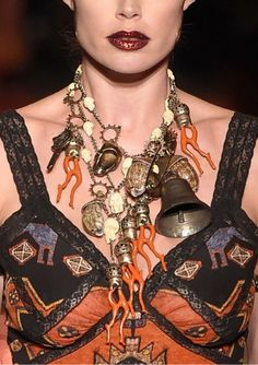 Givenchy Fall 2015, boho necklace details