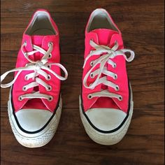 Converse Hot Pink Sneakers Cute little pair need some new shoestrings but in good shape. I did not wash but did clean the soles with some 409 and the bottoms. Shoes Sneakers