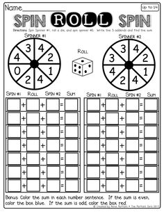 Interactive math-Spin a spinner, roll a die and spin the spinner! Such a fun way to practice adding 3 numbers! (You can use a paper clip and pencil to make a spinner)