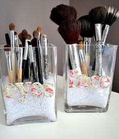 Makeup brush holders. such a agood idea would probably use mason jars to go with theme
