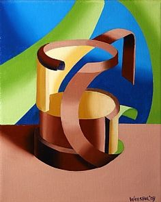 Futurist Abstract Beer Mug Oil Painting by Northern California Artist Mark Webster
