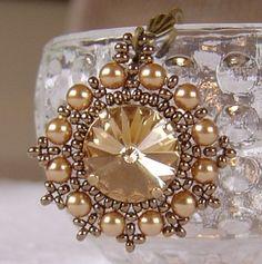 Gold ... beaded bezel glass pearls rivoli pendant