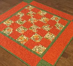 Fall Pumpkin Table Topper Quilted Fall Runner Quilted Table
