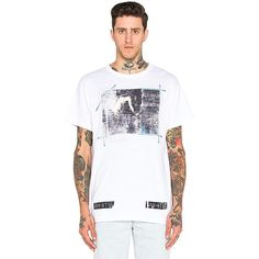 OFF-WHITE Caravaggio Annunciation Tee T-Shirts ($247) ❤ liked on Polyvore featuring men's fashion, men's clothing, men's shirts, men's t-shirts and graphic tees