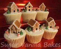 Gingerbread House Cupcakes - Gingerbread houses made from sugarpaste and royal i. - Gingerbread House Cupcakes – Gingerbread houses made from sugarpaste and royal icing (made Dec 20 - Christmas Cupcakes, Christmas Sweets, Christmas Cooking, Noel Christmas, Christmas Pudding, Christmas Cupcake Toppers, Christmas Ideas, Holiday Treats, Holiday Recipes