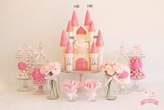 Princess castle cake and sweet table by Cuppy and Cakes