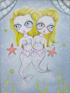 Double Double Sure is Trouble art print Mermaid conjoined twins by FreaksGeeksBeauties on Etsy