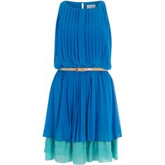Jessica Simpson Blue Pleated Belted Dress (1,035 MXN) ❤ liked on Polyvore featuring dresses, vestidos, robes, платья, jessica simpson dresses, belted dress, blue dress, dresses with belts and blue dress with belt