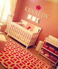 Project Nursery - Pink and White Nursery. I LOVE the idea of the pink crown above the name.