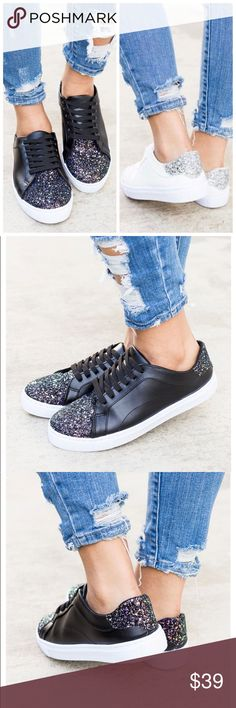 Trendy Glitter Toe Sneakers White and black available. Glitter on toe and heel. Shoes Sneakers