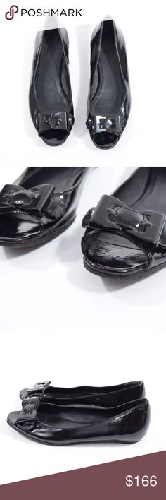 Gucci patent leather peep toe flats Classy black flats from Gucci. Shiny black patent leather. Peep toe with a bow-shaped buckle detail at the toe. No signs of wear above sole. No box or dustbag. Size 8. Gucci Shoes Flats & Loafers
