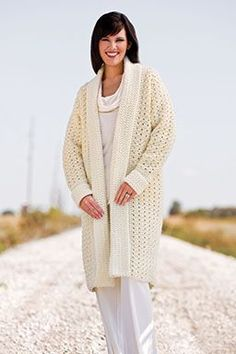Winter White Car Coat By Melissa Leapman - Free Crochet Pattern - See http://www.crochet-world.com/newsletters/images/2014/40201314-22/WinterWhiteCarCoat.pdf For PDF Link - (crochet-world)