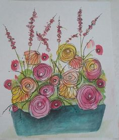 Inspred by CeeCee. Watercolour and ink doodling. Inspred by CeeCee. Watercolour and ink doodling. Watercolor Pencils, Watercolor And Ink, Watercolor Flowers, Watercolor Paintings, Watercolors, Ink Doodles, Flower Doodles, Spring Art, Arte Floral