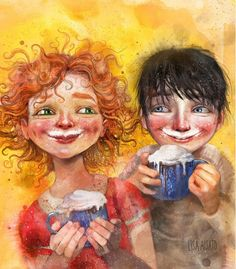Figurative Kunst, Lisa, Hug You, Cool Art, Fun Art, Digital Illustration, Illustrators, Cocoa, Mexican Art
