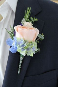 Peach rose and Light Blue- with hydrangea & accent of silvery eucalyptus & rosemary