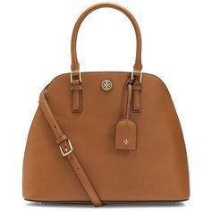 Tory Burch Robinson Open Dome Satchel (23.580 RUB) ❤ liked on Polyvore featuring bags, handbags, brown leather handbag, tory burch purse, genuine leather handbags, tory burch and real leather purses