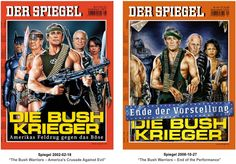 """Die Bush-Krieger"" - ""The Bush Warriors - America's Crusade Against Evil"" and its follow-up cover"