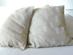 Fine Little Tree inspired stamp printed pillowcase and coordinating embroidery tree pillowcase