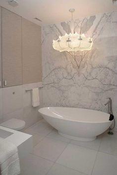 Contemporary Eko Park Luxury Apartment Interior - Bathroom - Beautiful Tub and Light Fixture