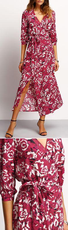 V Neck Floral Wrap Dress. Casual Shift Maxi Dress. Multicolor Split Spring Dress.