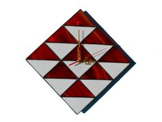3D Wall Clock Geometric design in red and white by ZangerGlass