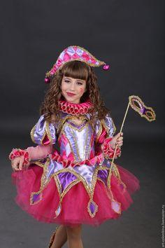 Детские карнавальные костюмы ручной работы. Ярмарка Мастеров - ручная работа. Купить костюм Коломбины. Handmade. Фуксия, карнавальный костюм