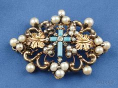 Antique Pearl, Turquoise, and Diamond Brooch, the turquoise and old mine-cut diamond melee cross flanked by foliate motifs, in a scrolling mount set with pearls, 14kt gold mount, lg. 2 1/2 in., (evidence of solder, pin stem with French import stamp).